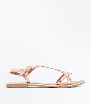 Teens Rose Gold Leather Twist Strap Sandals