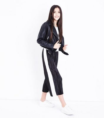 Teens Black Stripe Side Plisse Trousers