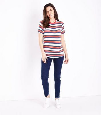 Maternity Navy Contrast Stitch Over Bump Skinny Jeans