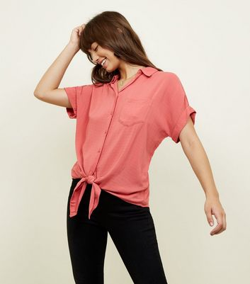 Deep Pink Rolled Sleeve Tie Front Shirt