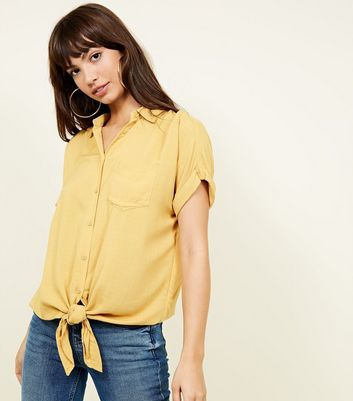 Yellow Rolled Sleeve Tie Front Shirt
