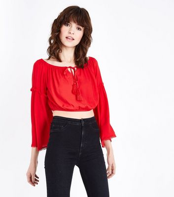 Red Bell Sleeve Tassel Bardot Crop Top