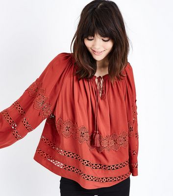 Rust Lace Trim Balloon Sleeve Smock Top