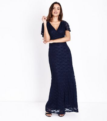 Mela Navy Lace Wrap Front Maxi Dress