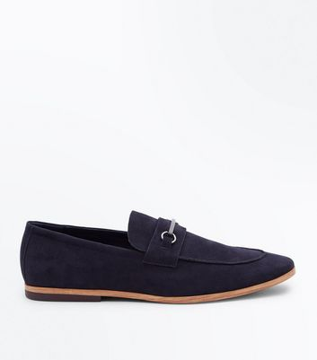 Navy Faux Suede Bar Front Loafers