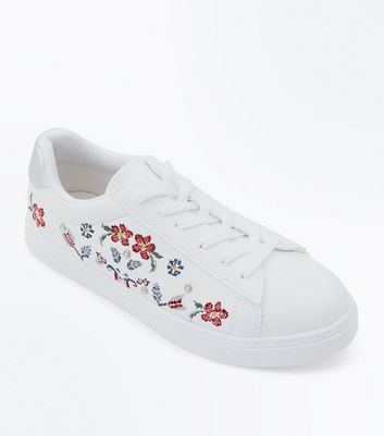 White Floral Cross Stitch Embroidered Trainers
