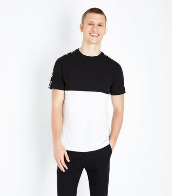 Black Colour Block NYC Tape Shoulder T-Shirt