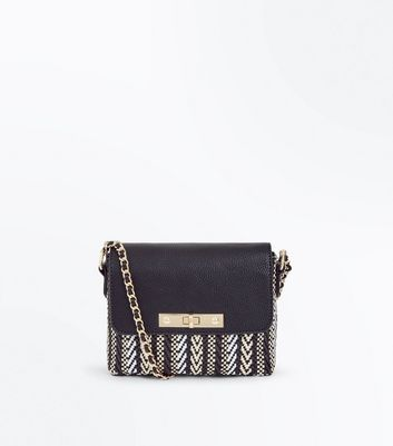 Black Woven Aztec Pattern Chain Shoulder Bag