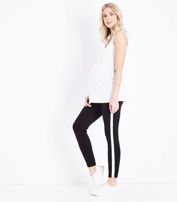 Maternity Black Stripe Side Over Bump Leggings