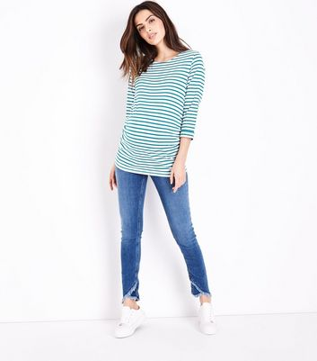Maternity Blue Cross Fray Hem Under Bump Jeans
