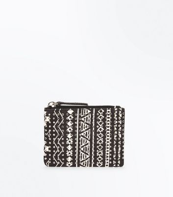 Black Aztec Embellished Zip Top Coin Purse