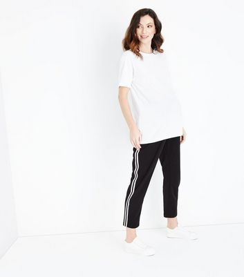 Maternity Black Stripe Side Joggers