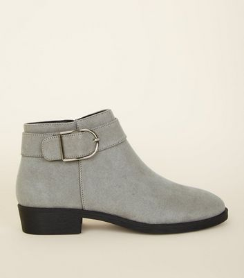 Grey Suedette Buckle Strap Side Ankle Boots by New Look