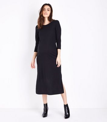 Maternity Black Cross Back Ribbed Midi Dress