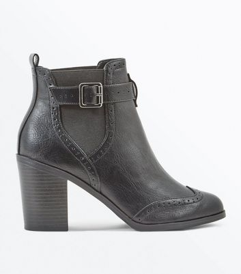 Black Buckle Side Block Heel Brogue Boots