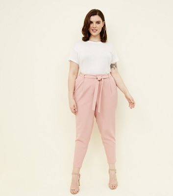 Curves Pink Tie Waist Tapered Trousers