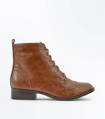 ... Tan Lace Up Brogue Boots