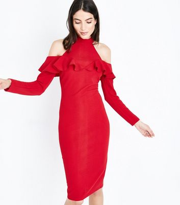 AX Paris Red Cold Shoulder Midi Dress