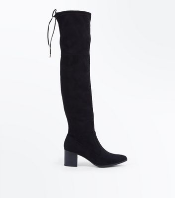 Black Suedette Pointed Toe Heeled Over Knee Boots