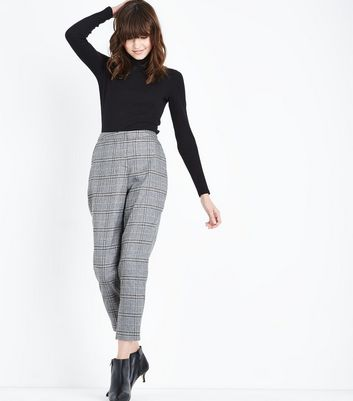 Light Grey Check Slim Leg Trousers