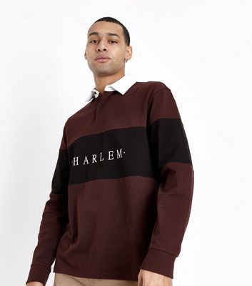 Burgundy Harlem Embroidered Rugby Top