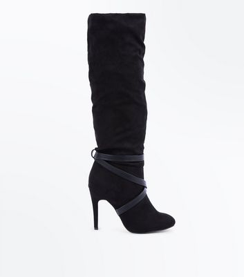 Black Suedette Strappy Knee High Boots