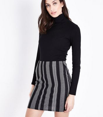 Black Stripe Jersey Tube Skirt