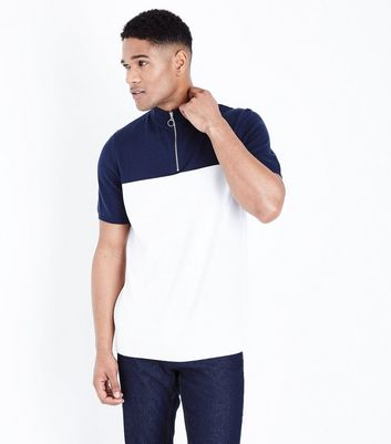 Navy Block Half Zip Jumper