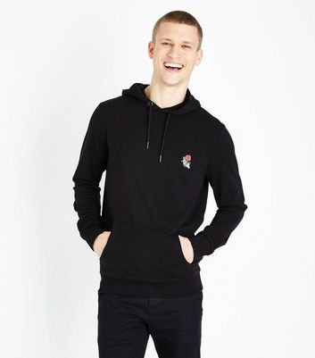Black Skeleton Rose Embroidered Hoodie