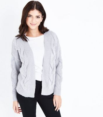 Grey Cable Knit Drop Sleeve Cardigan