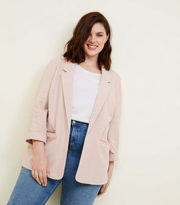 Curves Pale Pink Cross Hatch Blazer
