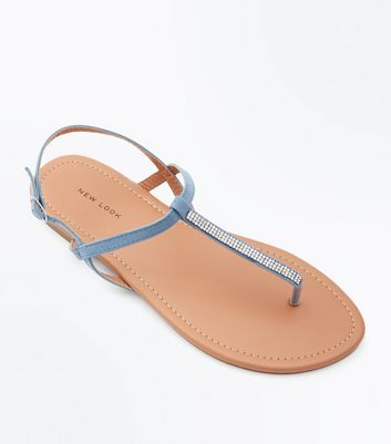 Pale Blue Diamante Strap Toe Post Sandals