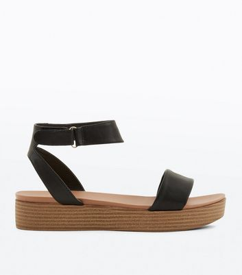 Black Two Part Flatform Sandals