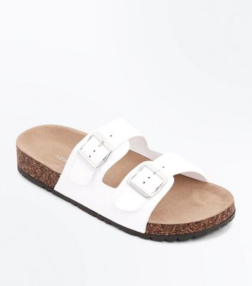 White Double Buckle Strap Sliders