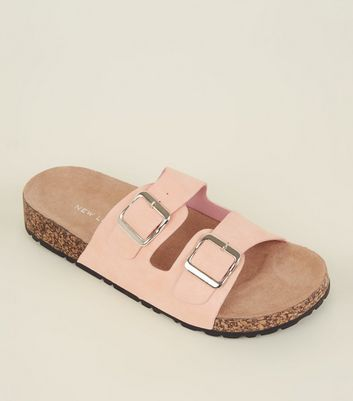 Pink Double Buckle Strap Footbed Sandals