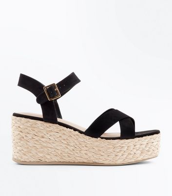 Black Suedette Flatform Espadrille Sandals by New Look