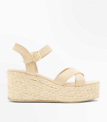 Light Brown Suedette Flatform Espadrille Sandals