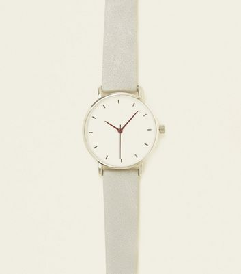 Dark Grey Brushed Leather-Look Strap Watch