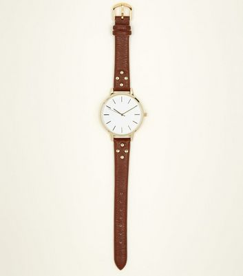 Brown Studded Strap Watch