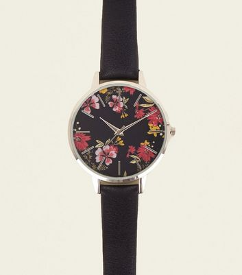 Black Read Floral Dial Strap Watch