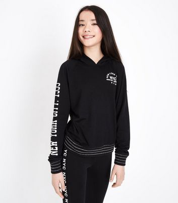"Teenager – Schwarzer Jacquard-Kapuzenpullover in Loungewear-Optik mit ""NYC""-Aufdruck"