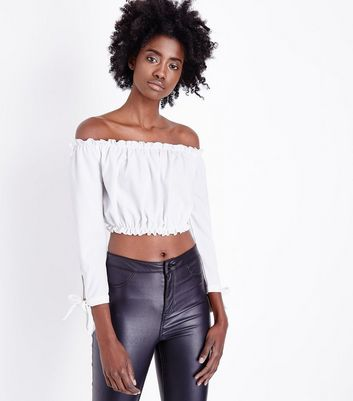 Off White Gathered Bardot Tie Sleeve Crop Top