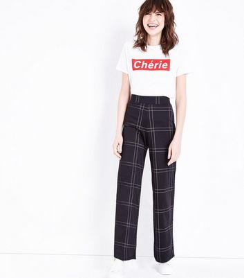 Innocence Black Check Wide Leg Trousers