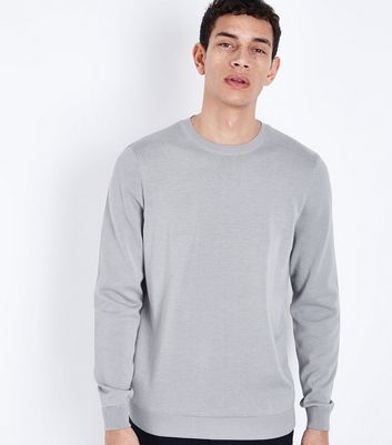 Pale Blue Muscle Fit Stretch Oxford Shirt; Pale Grey Crew Neck Jumper