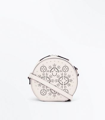 Mink Embossed Round Cross Body Bag
