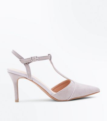 Grey Comfort Flex Suedette T-Bar Heels