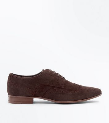 Dark Brown Faux Suede Brogues