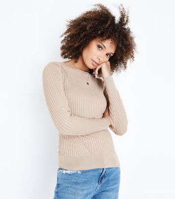 Camel Panelled Rib Jumper