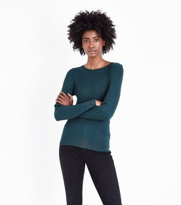 Dark Green Panelled Rib Jumper