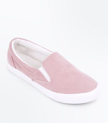Pink Corduroy Slip On Trainers